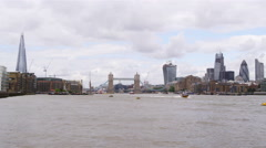 London sights seen up the River Thames - Tower Bridge, Gherkin, Shard Stock Footage
