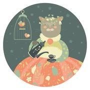 Cute cat with teapot wearing dress Stock Illustration