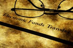 Electronic funds transfer grunge concept - stock illustration