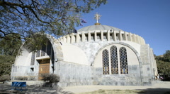 Exterior view of the New Church St Mary of Zion in Aksum, Northern Ethiopia, Afr Stock Footage