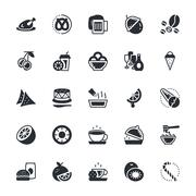 Black Food, Drinks, Fruits, Vegetables Vector Icons Stock Illustration