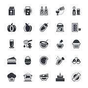 Food, Drinks, Fruits, Vegetables Icons Set Stock Illustration