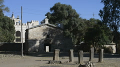 The 17th century church of Saint Mary of Zion, Axum, Ethiopia Stock Footage