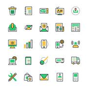 User Interface and Web Colored Vector Icons Stock Illustration