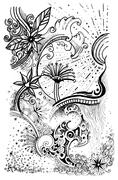 abstract nature drawing - stock illustration