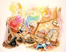 fairy tale illustration. baking rainbow bread in the witch hut - stock illustration