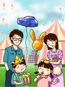 Happy family in fun festival - stock illustration