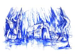 Rainy and ruin architecture illustration Stock Illustration