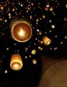 floating lantern festival illustration - stock illustration