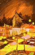 Laos, Luang Prabang, temple and marketing at night painting Stock Illustration