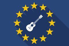 Long shadow EU flag with  an ukulele Stock Illustration