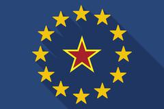 long shadow EU flag with  the red star of communism icon - stock illustration