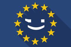 long shadow EU flag with  a wink text face emoticon - stock illustration