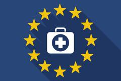 long shadow EU flag with  a first aid kit icon - stock illustration