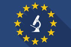 Long shadow EU flag with  a microscope icon Piirros