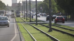 Aged Agile Tram in Bucharest Romania - stock footage