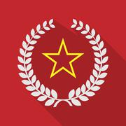 long shadow laurel wreath icon with  the red star of communism icon - stock illustration