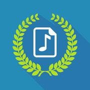 Long shadow laurel wreath icon with  a music score icon Stock Illustration
