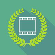 Long shadow laurel wreath icon with   a photographic 35mm film strip Stock Illustration
