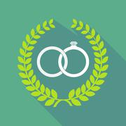 long shadow laurel wreath icon with  two bonded wedding rings - stock illustration