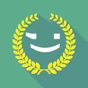 long shadow laurel wreath icon with  a wink text face emoticon - stock illustration
