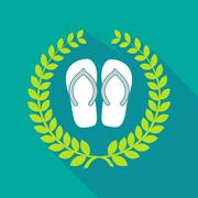 long shadow laurel wreath icon with   a pair of flops - stock illustration