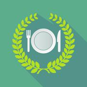 Long shadow laurel wreath icon with  a dish, knife and a fork icon Stock Illustration