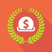 Long shadow laurel wreath icon with  a dollar coin entering in a moneybox Stock Illustration