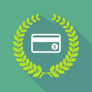 long shadow laurel wreath icon with  a credit card - stock illustration