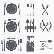 Set vector cutlery icons - stock illustration