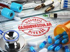 Cardiovascular disease diagnosis. Stamp, stethoscope, syringe, blood test and Stock Illustration