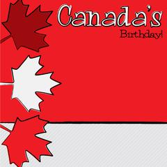 Hand drawn maple leaf Canada Day card in vector format. Stock Illustration