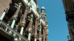 BARCELONA Museum of Catalan Music exterior, zoom in Stock Footage