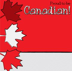 Hand drawn maple leaf Canada Day card in vector format. - stock illustration