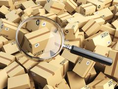 Delivery, shipping, logistics concept. Cardboard box tracking search. Loupe a Stock Illustration