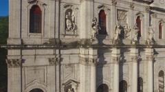 Main facade of the Estrela Basilica in Lisbon at morning aerial view Stock Footage