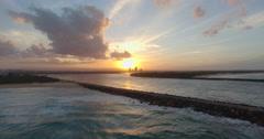 Sunset over seaway jetties Stock Footage