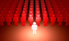 Leader (symbolic figures of people). 3D illustration rendering. - stock illustration