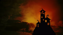Scary dark castle animation, Dramatic sky with clouds and lightning. Stock Footage