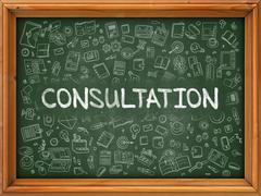 Consultation - Hand Drawn on Green Chalkboard Stock Illustration