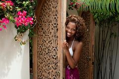 Young woman beckoning Stock Photos