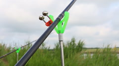 Bell on the fishing rod. Stock Footage