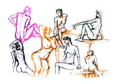 sketch illustration of nude, naked girls - stock illustration