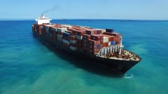 Large container ship at sea - Aerial footage - stock footage