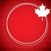 Circle Canada Day maple leaf card in vector format. - stock illustration