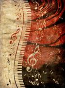 Piano Keyboard with Music Notes Grunge - stock illustration