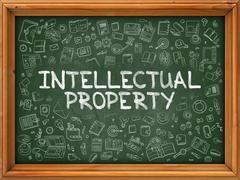Intellectual Property - Hand Drawn on Green Chalkboard - stock illustration