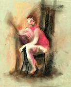 man portrait drawing - stock illustration