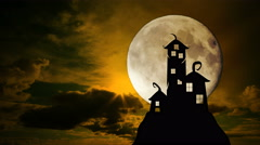 Scary dark castle animation, Dramatic sky with full moon clouds and lightning. Stock Footage