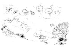 Under the sea creatures moms and kids doodle illustration Stock Illustration